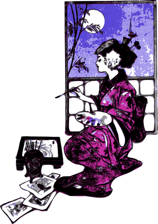 Japanese clipart geisha japan. Art painting free commercial