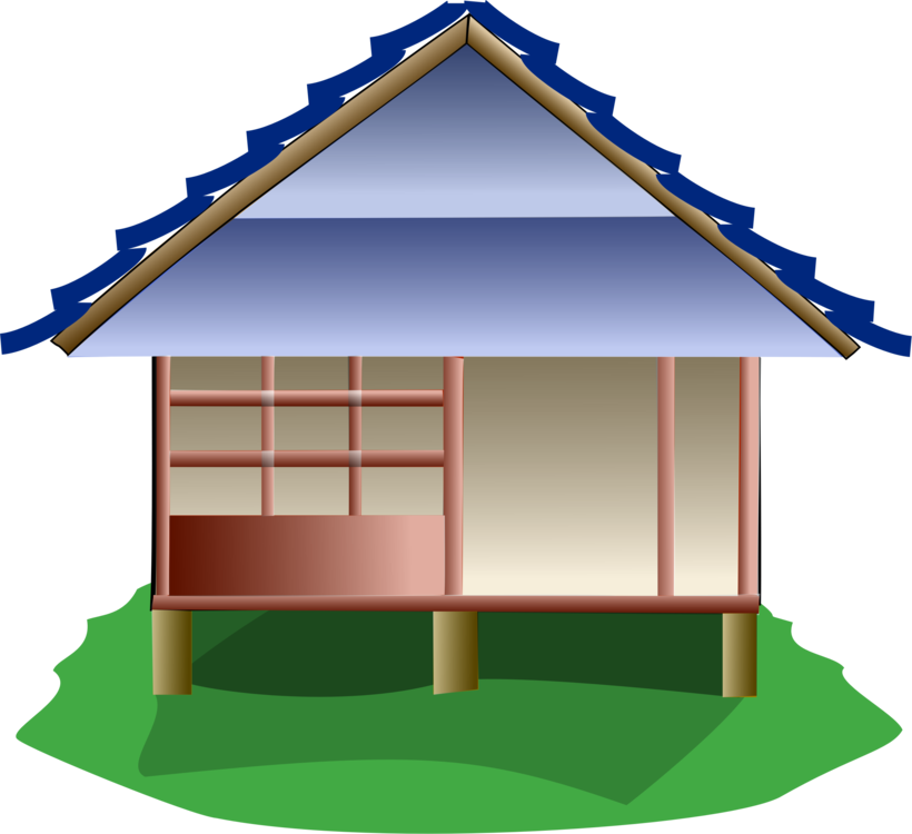 Japanese clipart house japanese. Stilt japan cottage hut