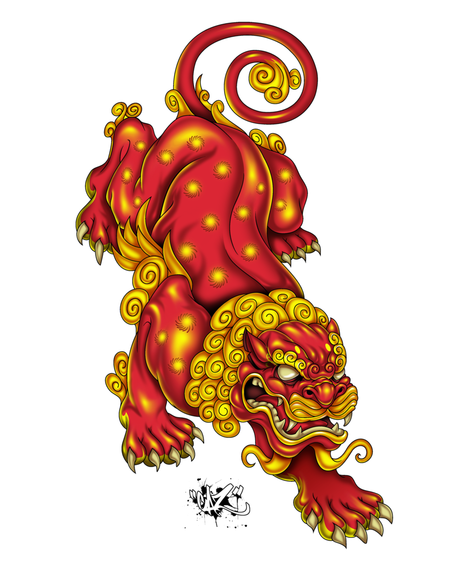 Lions vector guardian chinese