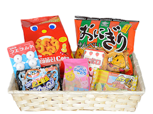 Japanese transparent sweet. Candy and snack box