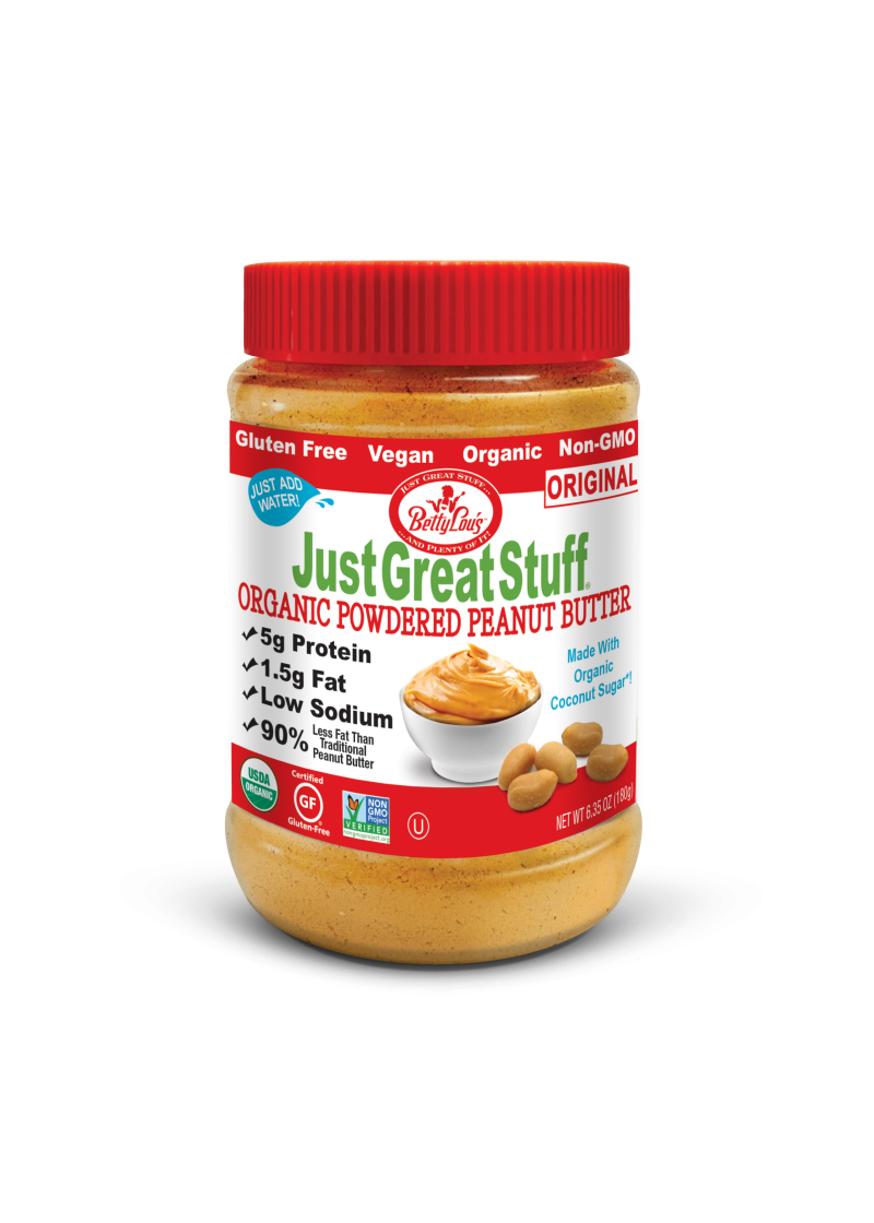Jar transparent peanut butter. Powdered home small about