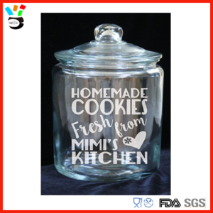 Transparent decals glass jar. Clear cookie with cover