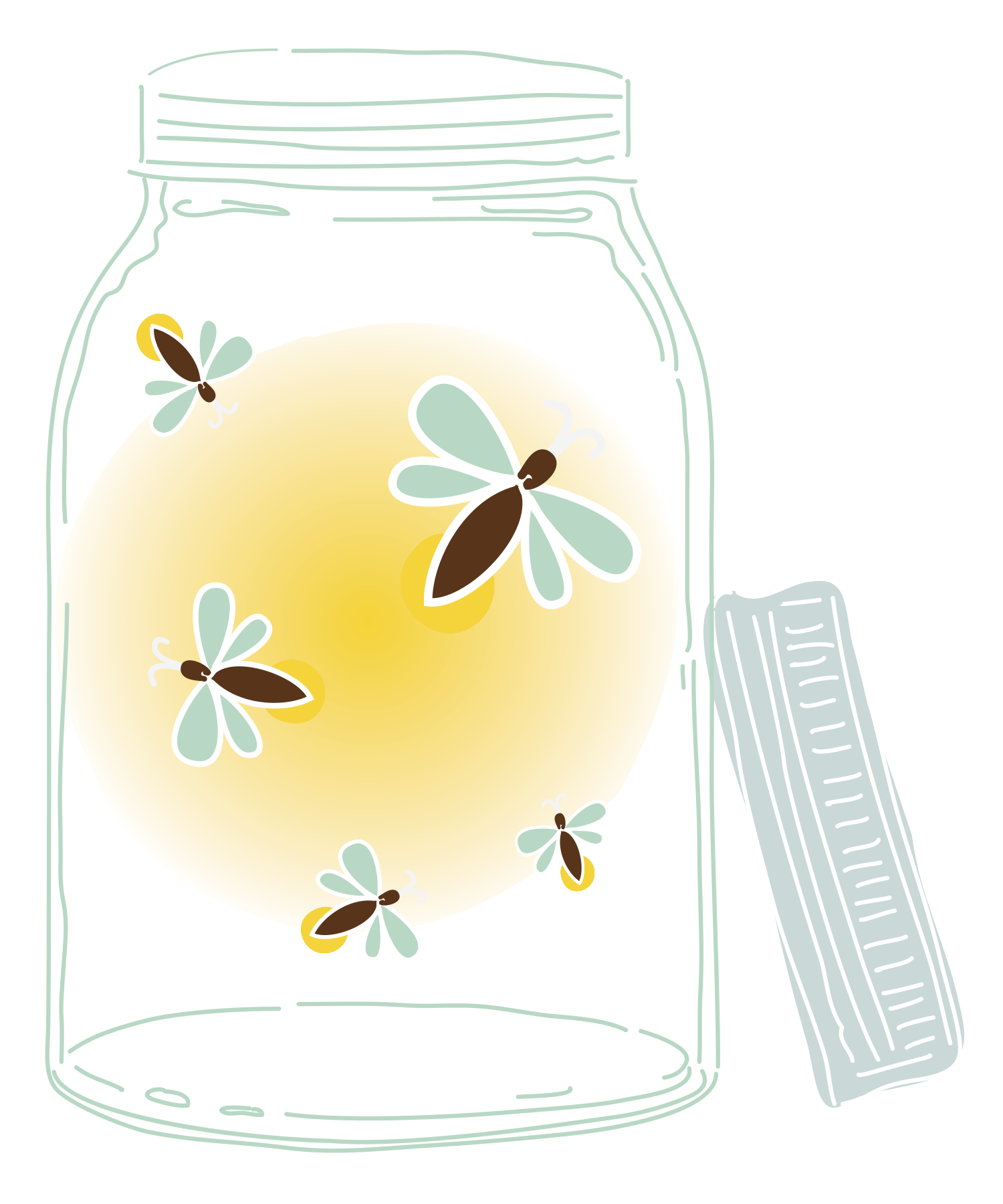 Jar transparent firefly. Graphic freeuse library