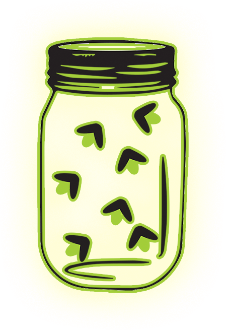 Transparent jar firefly. Clients consulting a of