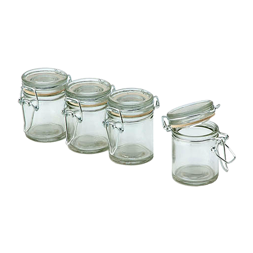 Transparent jar flip top. David tutera lid glass