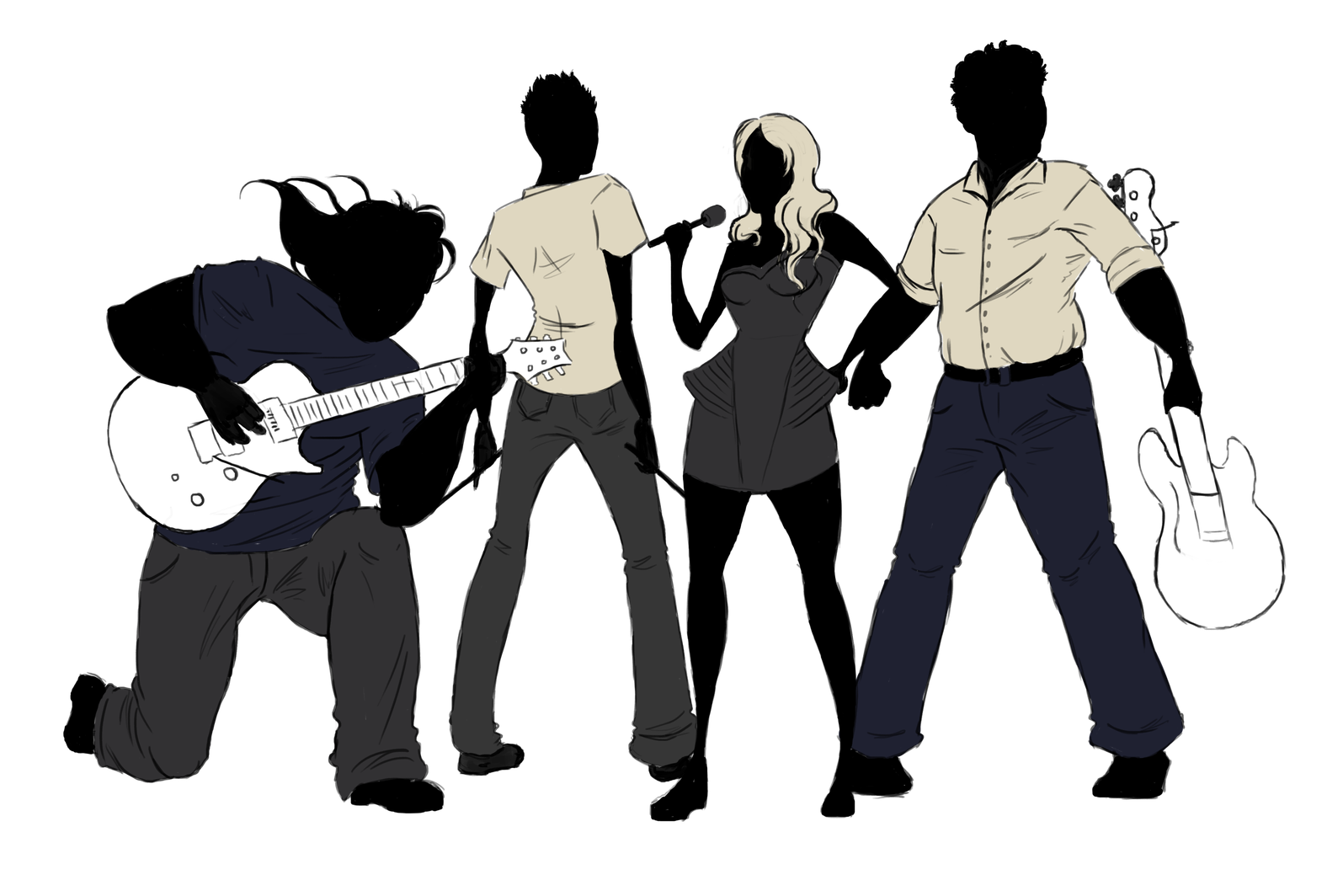 Jazz band silhouette png. Rock musical ensemble transprent