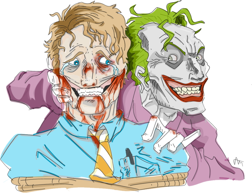 Jazza drawing. The joker torturing a