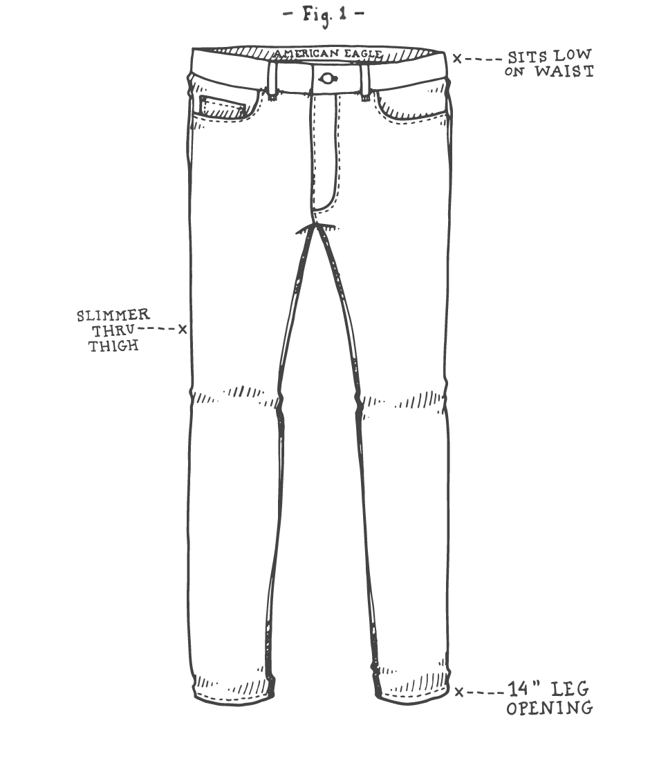 Flappers drawing man. Collection of jeans