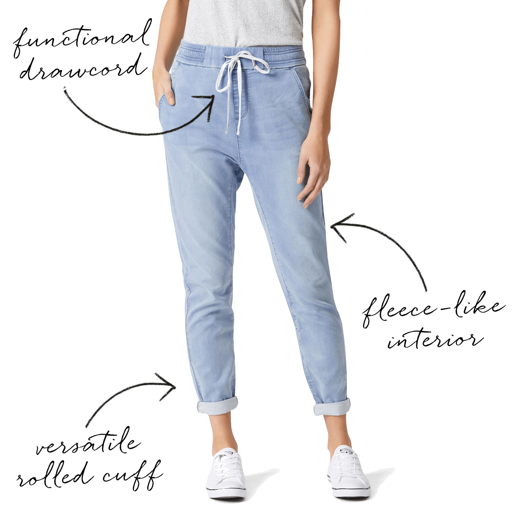 Jean drawing boyfriend jeans. Luxe lounge which style