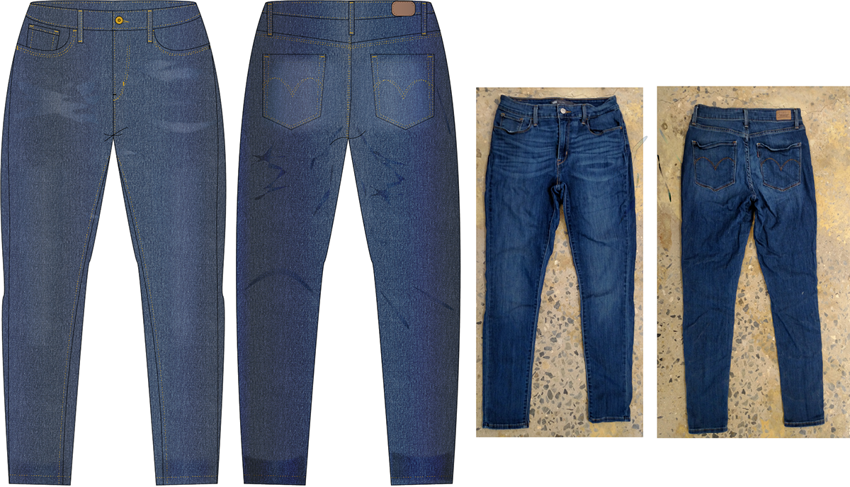 Jean drawing denim jeans. Technical flat drawings on