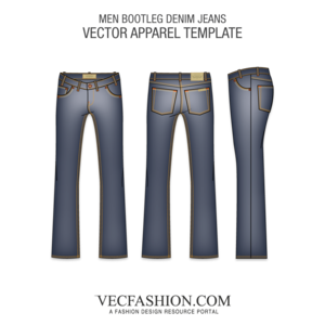 Men bootleg denim fashion. Jeans vector track clipart free stock