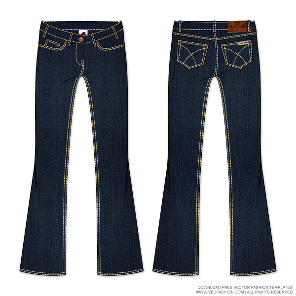Jeans vector. Womens denim flare template