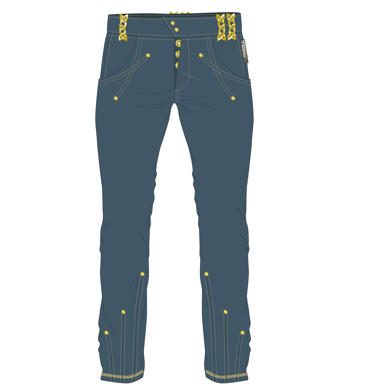 Jeans vector button. Denim pocket trousers men