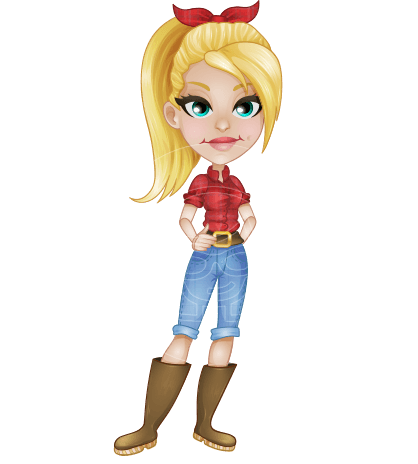 Jeans vector lady. Woman cartoon characters ultimate