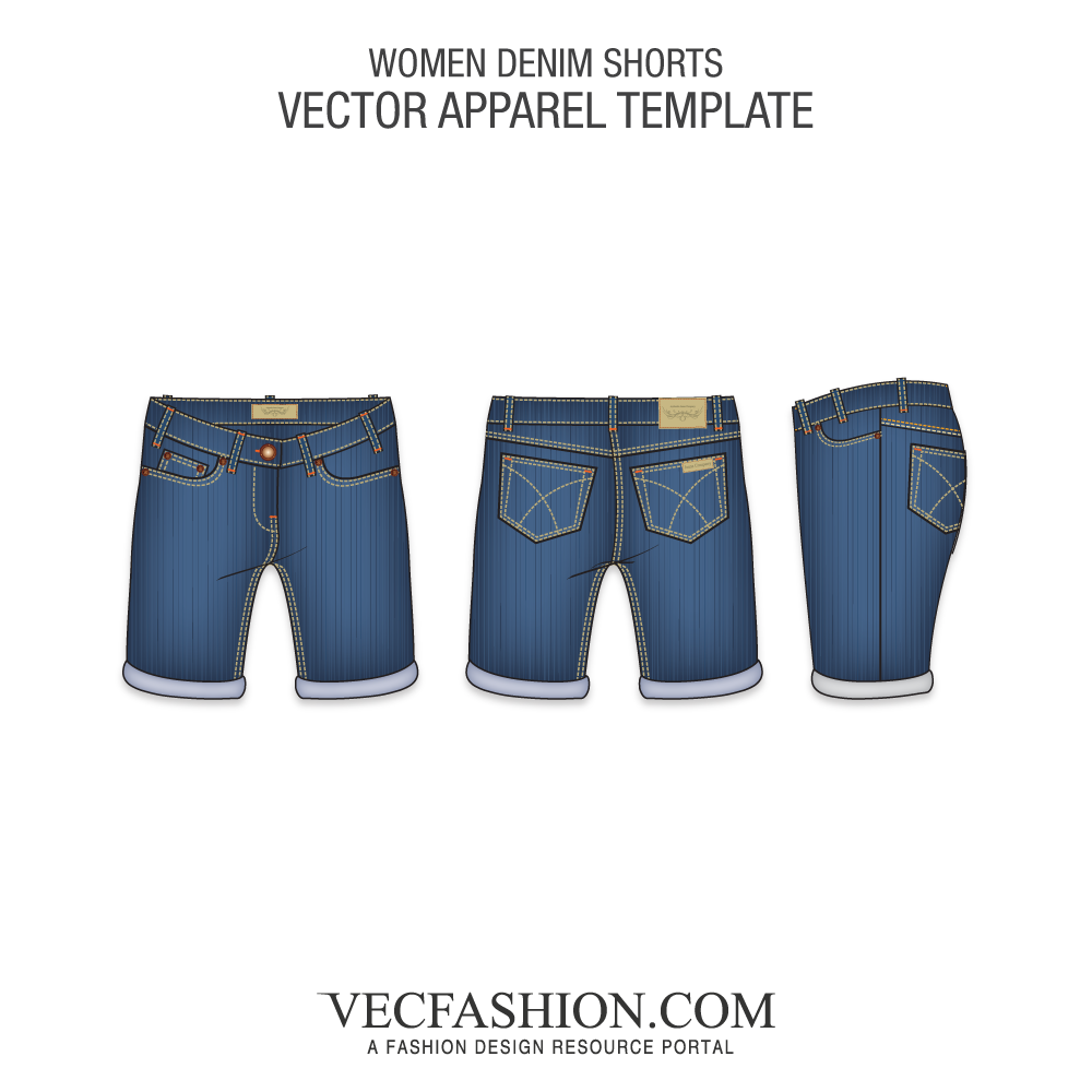 Jeans vector training. Shorts bottoms vecfashion women