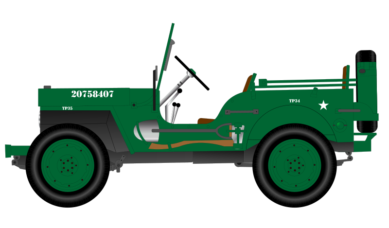 Jeep clipart jeep back. Free vintage military cliparts