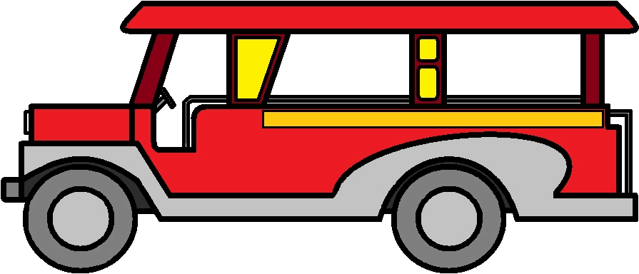 Jeepney drawing. Collection of simple