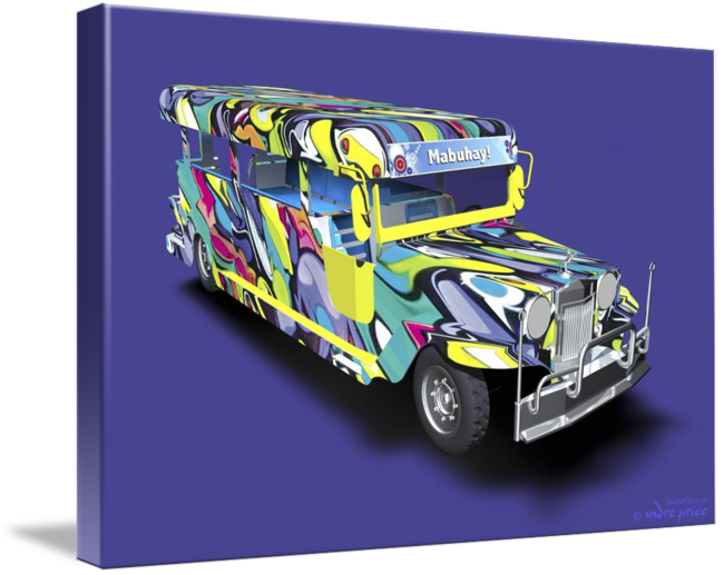 Jeepney drawing animated. Graffiti covered philippine d