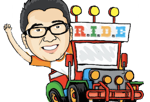 Jeepney drawing driver. Collection of clipart