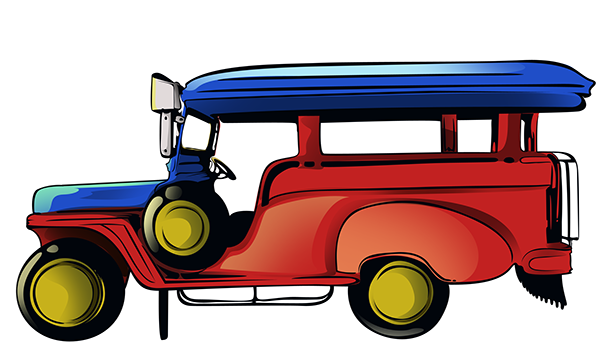 Jeepney drawing side view. Collection of philippine