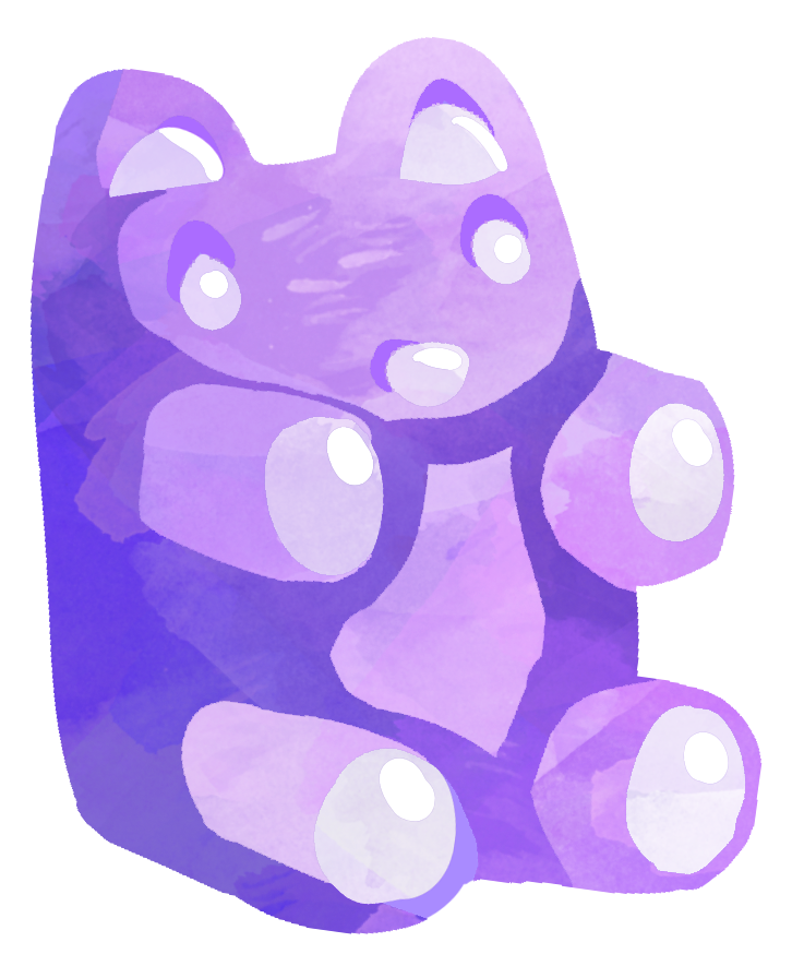 Jelly bear clip art. Watercolor purple