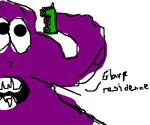 Jelly drawing purple. Giant monster answers the