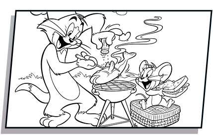 Tom drawing black and white. Butch chef coloring page