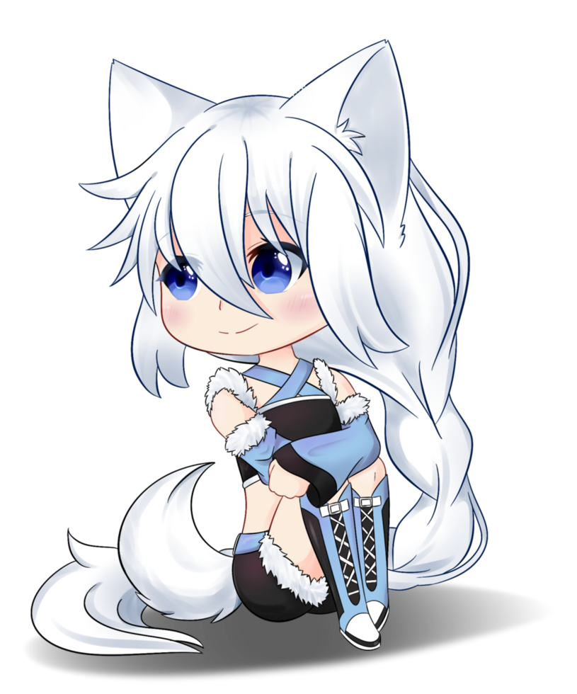 Jerry drawing chibi. White wolf by whiterstar
