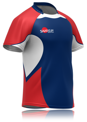 Vector tee badminton jersey. Blue red rugby shirt