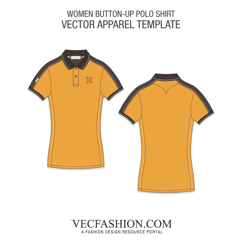 Women polo shirt fashion. Vector tee side banner library stock