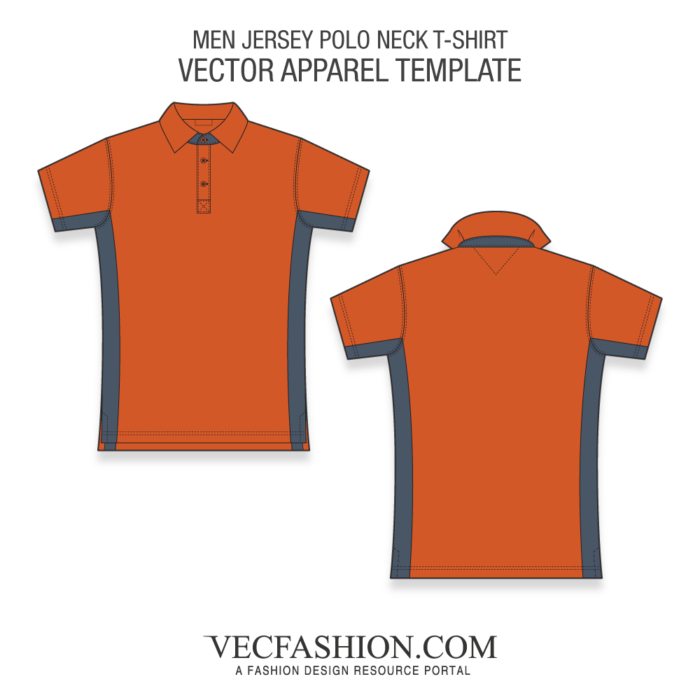 Jersey vector. Men polo neck shirt