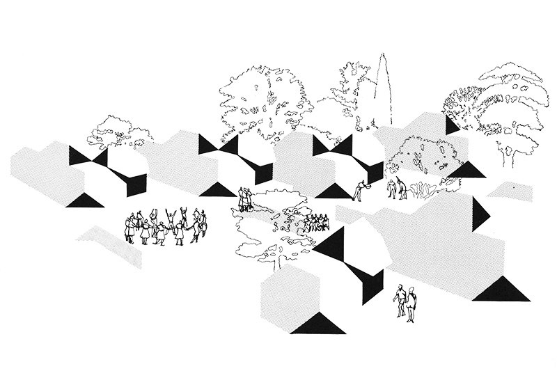 Units of non orthogonal. Spatial drawing collage clip art transparent library