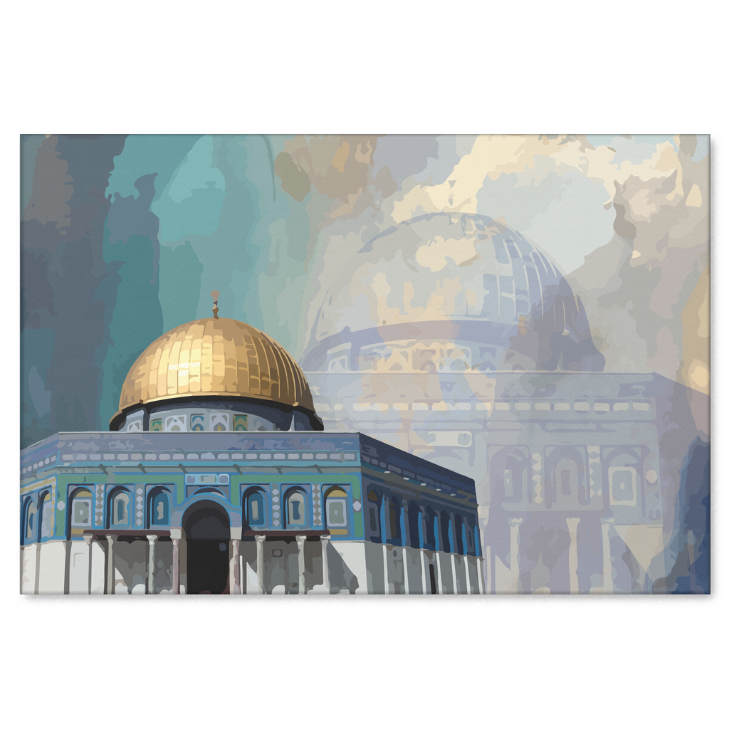 Jerusalem drawing dome the rock. Historic of mosque in