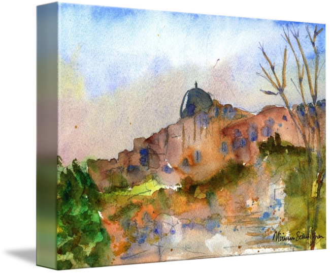 Jerusalem drawing landscape. Watercolor painting by miriam