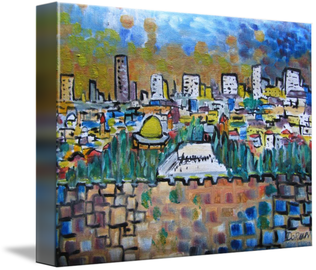 Jerusalem drawing watercolor. Square by doron lichtman
