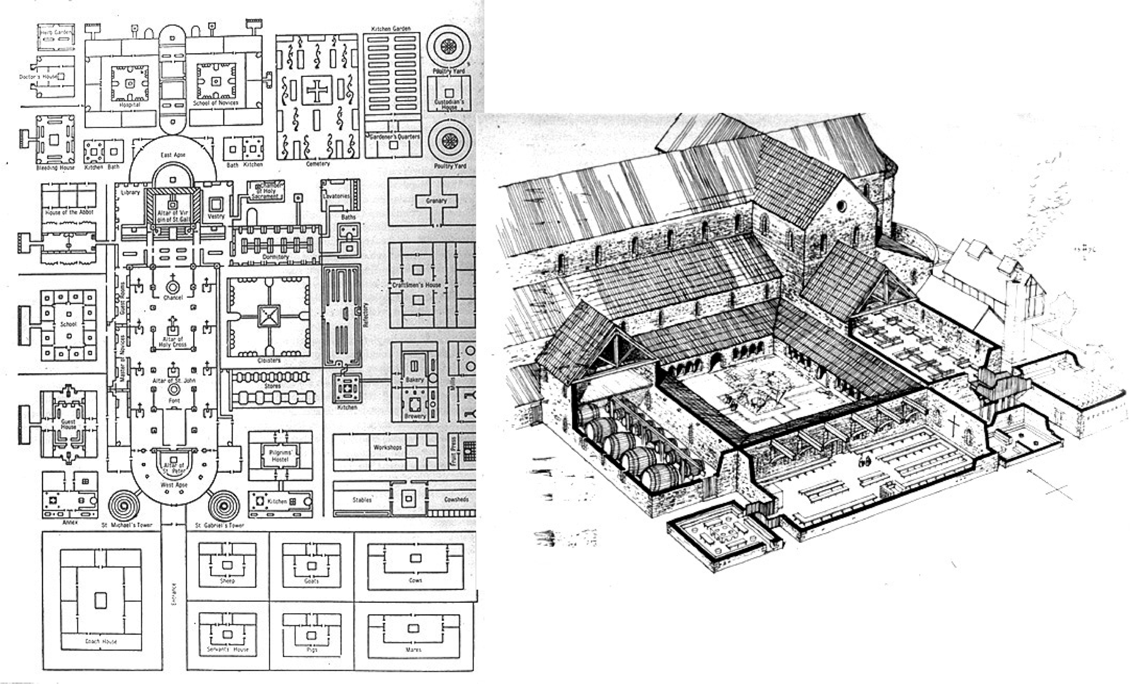 Carolingian plan for a. Old drawing architectural svg library library