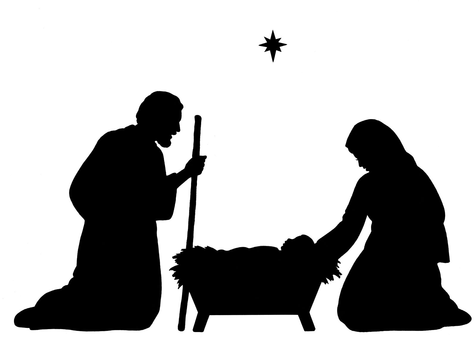 Jesus silhouette at getdrawings. Nativity clipart banner freeuse stock