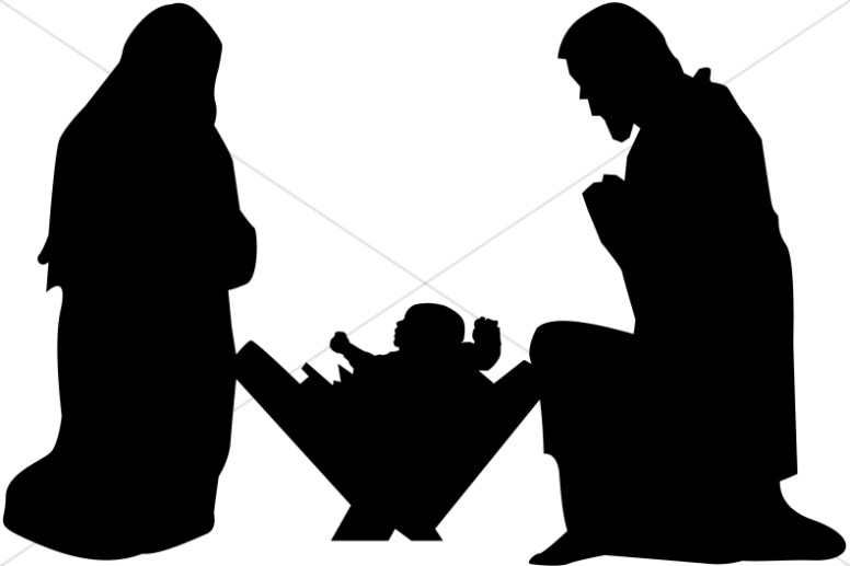 Mary joseph and baby. Crib clipart silhouette picture