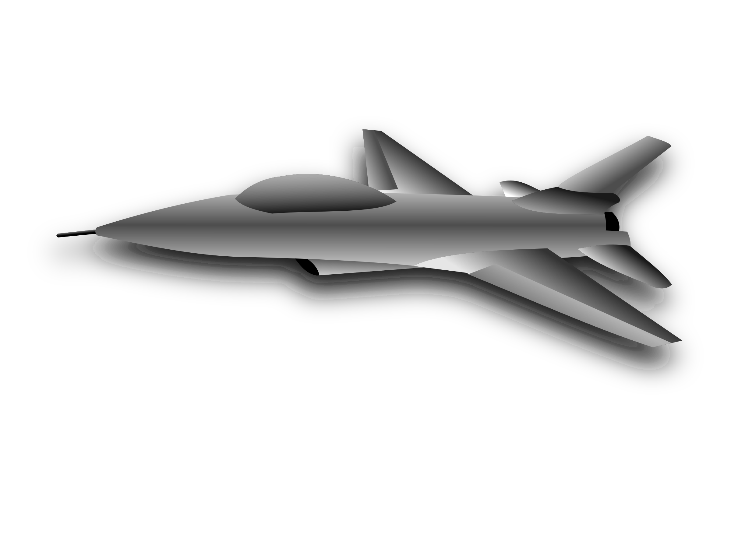 Vector jet black and white. Clipart aircraft