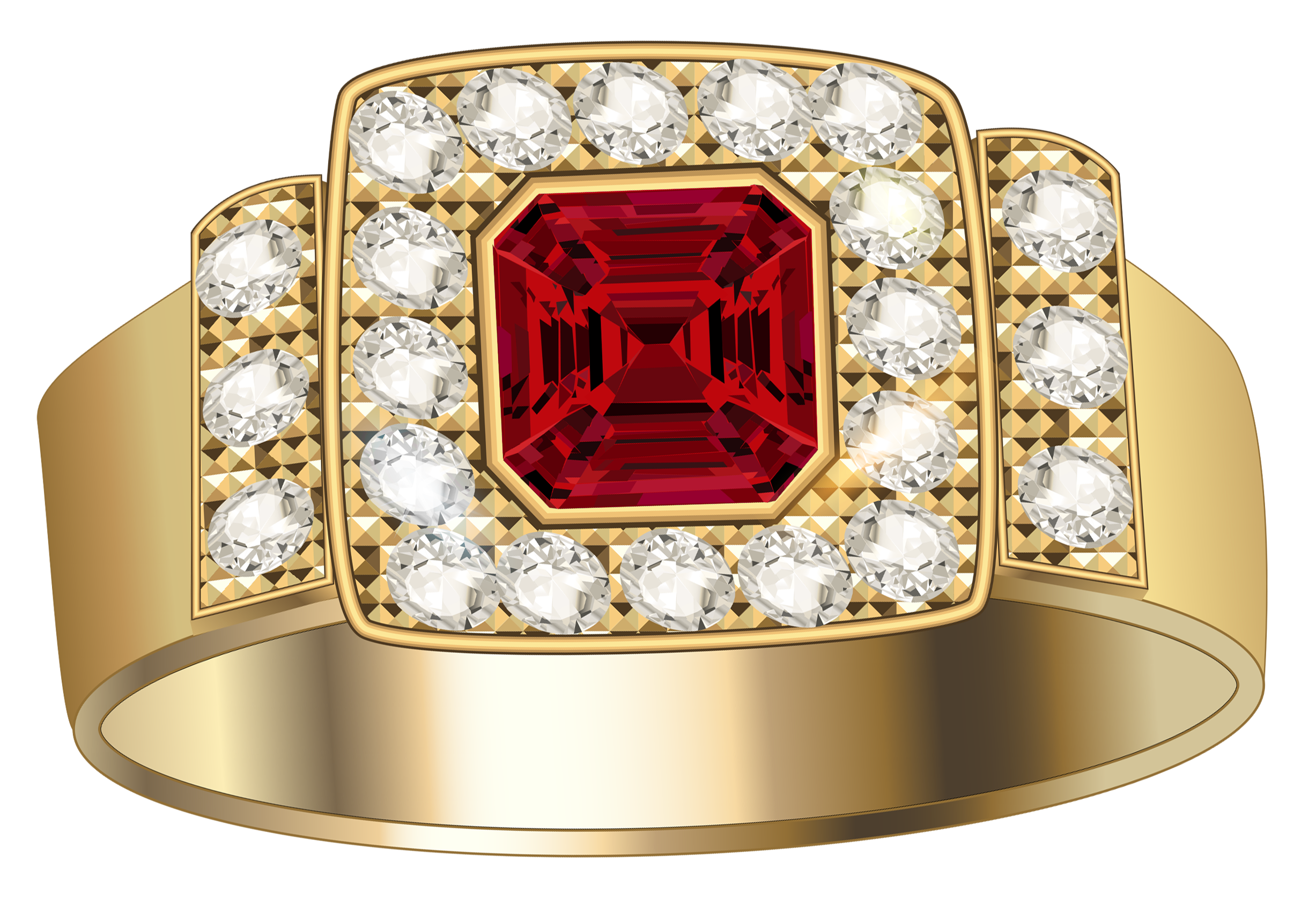 Gold ring with diamonds. Jewellers png image download