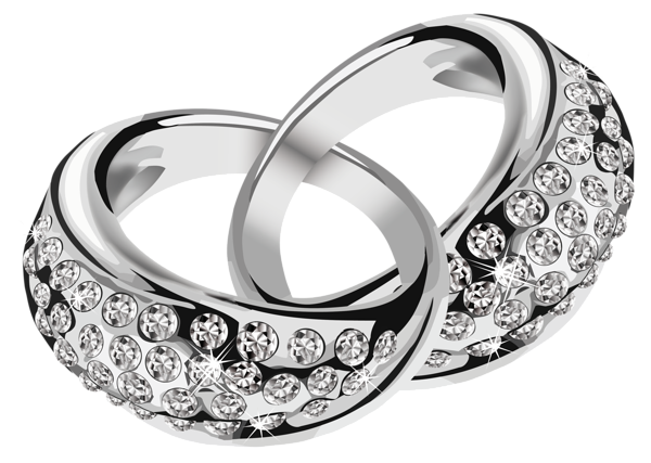 Wedding rings clipart png. Silver with diamonds picture