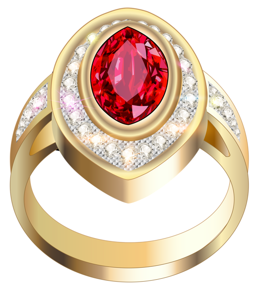 Jewel clipart ring. Gold with red diamond