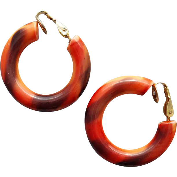 Jewelry clip clothing. Autumn colors vintage hoop