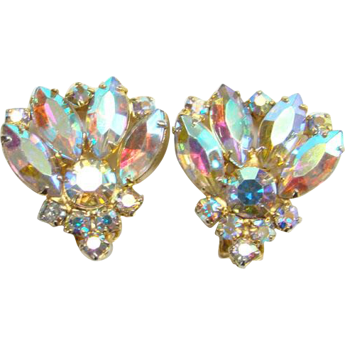 Aurora borealis sparkling earrings. Jewelry clip costume image library library