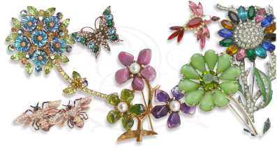 Jewelry clip costume. Garden party collection vintage clip art