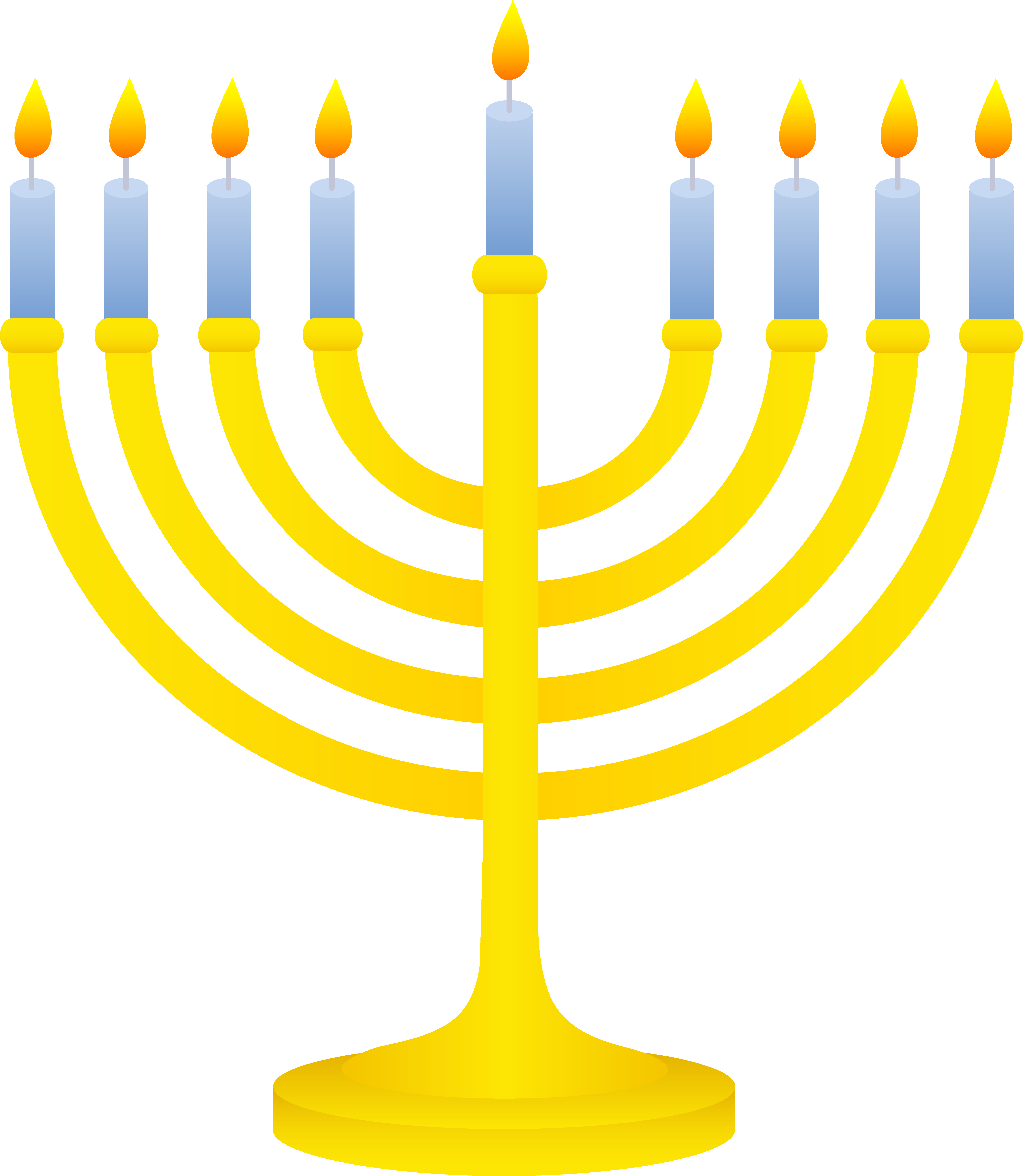 Golden with lit candles. Menorah clipart picture