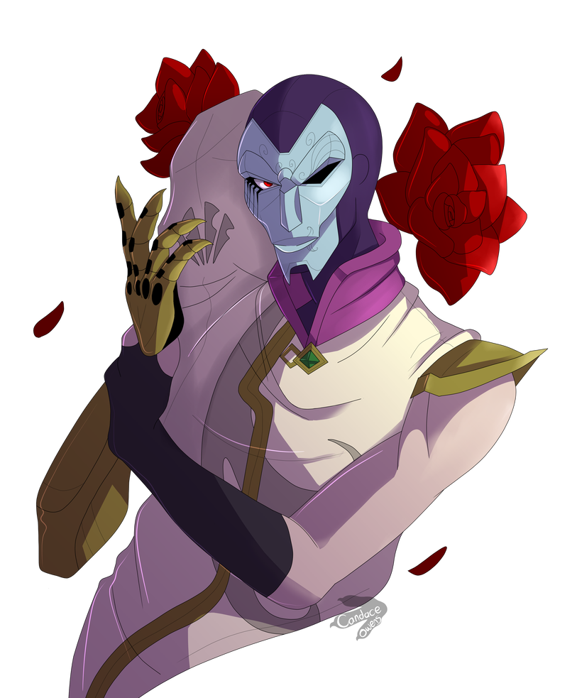 Jhin drawing art. Above waist portrait by
