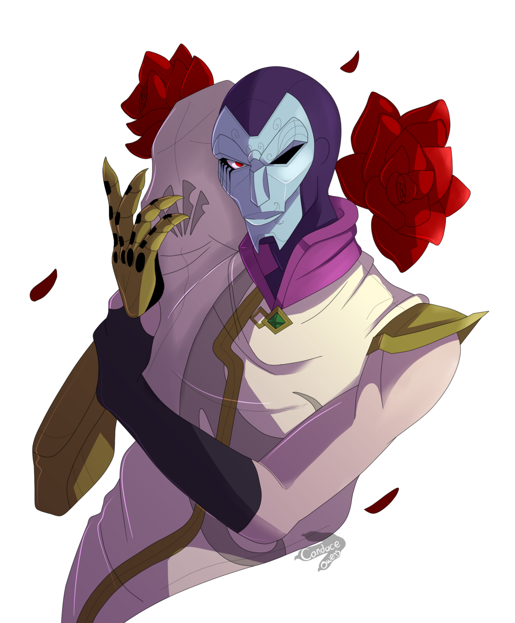 Jhin drawing blood moon. Above waist portrait by