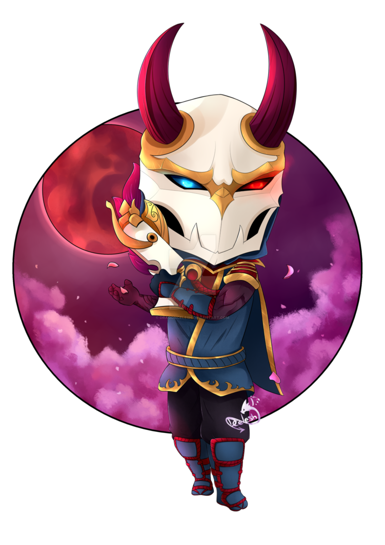 Jhin drawing blood moon. Chibi by dragoncelesh on