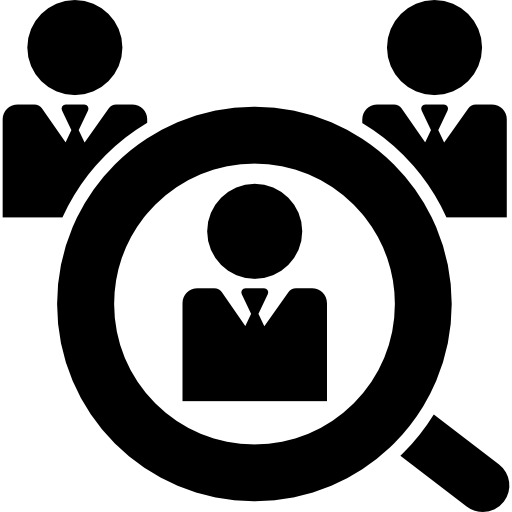 Worker vector job seeker. Male search symbol icons